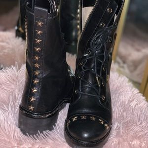 8.5 Michael Kors combat boot with star studs